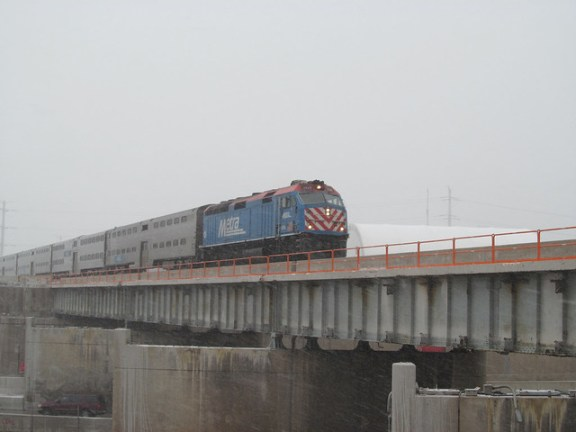 Metra Rock Island Train crossing the Dan Ryan Expressway via the Englewod Flyover