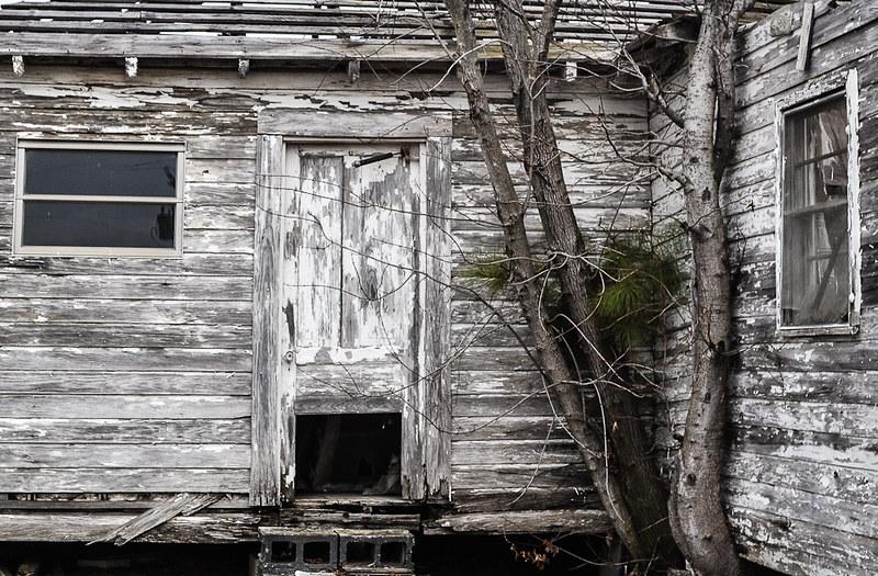 doggie door on abandoned house