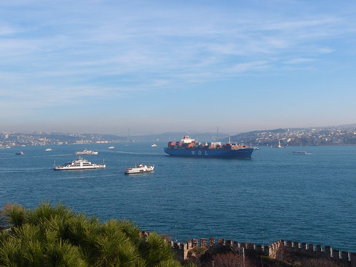 Cargo ship on Bosphorus