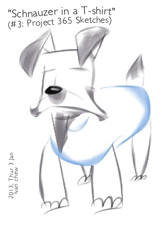 """""""Schnauzer in a T-shirt"""" (#3: Project 365 Sketches)"""