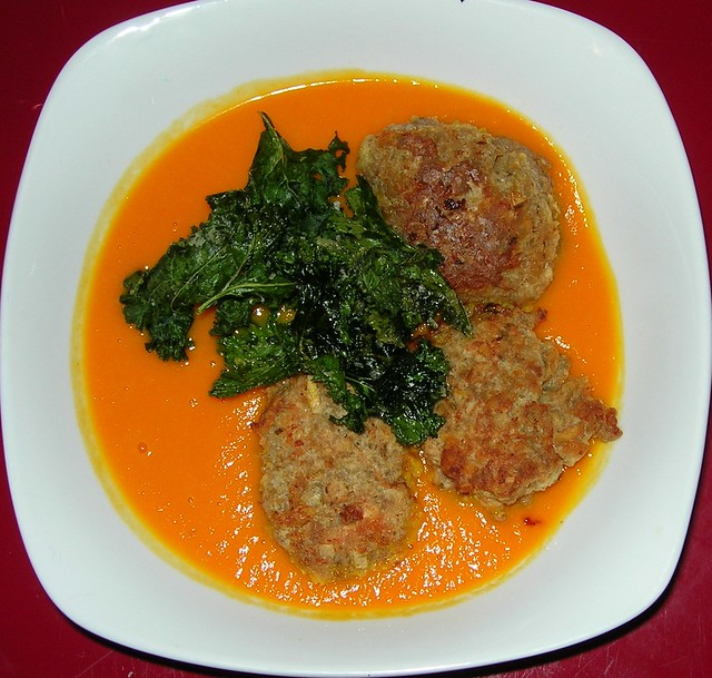 Carrot Soup with Roasted Kale & Turkey Meatballs