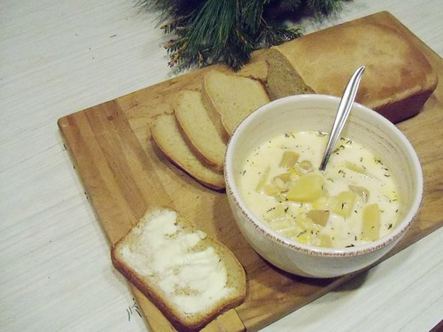chowder and bread