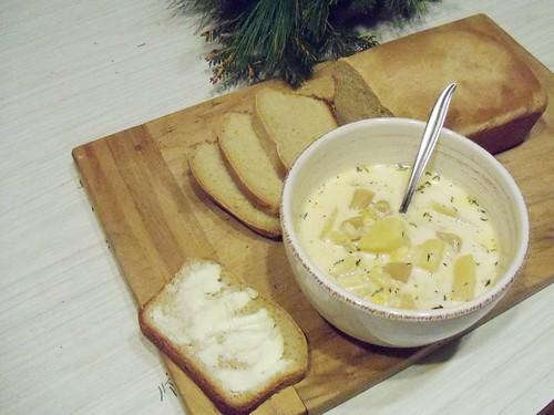 chowder and bread
