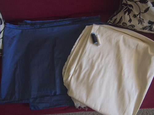 Materials: Navy Silk Taffeta, Cream Silk Shantung, Thread