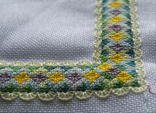 Pinapple Stitch mat WIP corner