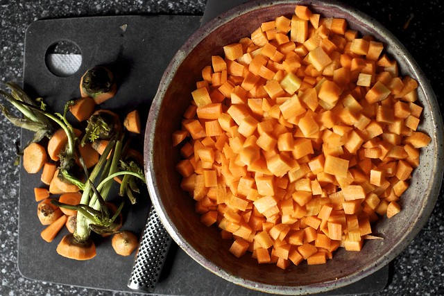 diced the carrots, but you can slice them