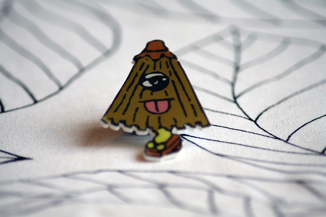 Umbrella Ghost Handmade Plastic Brooch