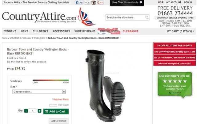 Country Attire 網站上的Hunter靴。