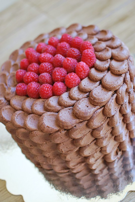 Chocolate Raspberry Petal Cake