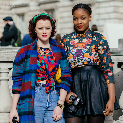 Photog girls at London Fashion Week. Somerset House, London
