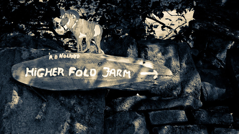 A sign for Higher Fold Farm in the Peak District, carved out of wood with a ram showing at the top. (Kamo Photos)