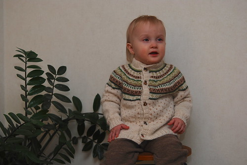 Fair isle yoke cardigan