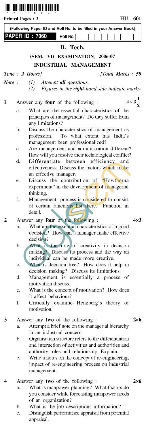 UPTU B.Tech Question Papers - HU-601 - Industrial Management