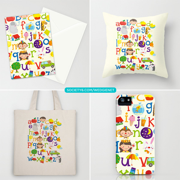 Wedgienet's alphabet on Society6