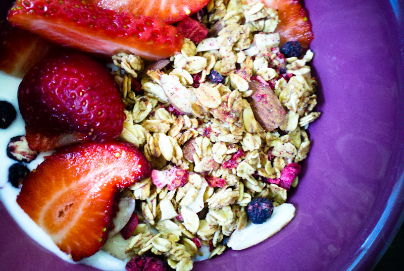 Mixed Berry Granola. Low Fat. Low Sugar.