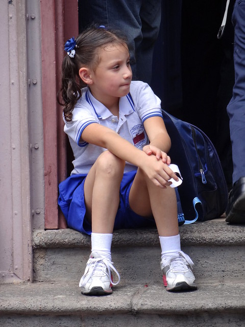 Schoolgirl Waits for Bus  Downtown San Jose  Costa Rica  Flickr  Photo Sharing
