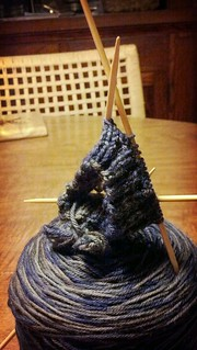 knitting project with double-pointed needles