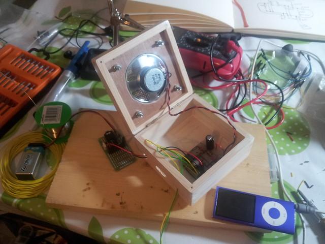 Speaker and circuit inside box