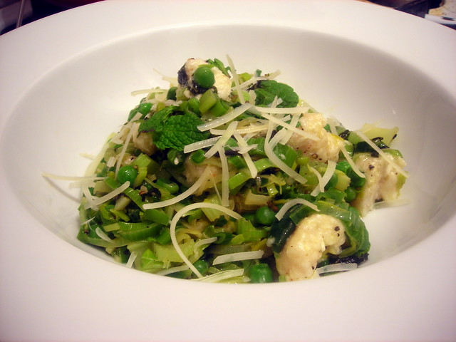 Ricotta gnocchi, with celery, leeks, baby peas and mint