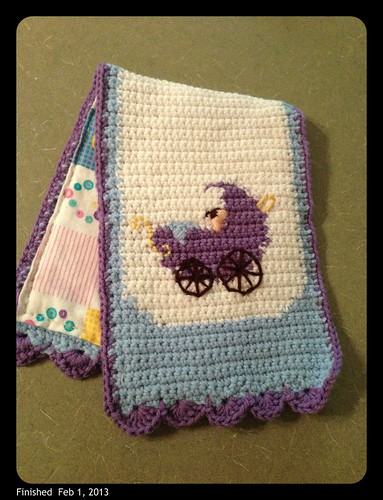 Finished baby burp cloth with flannel lining