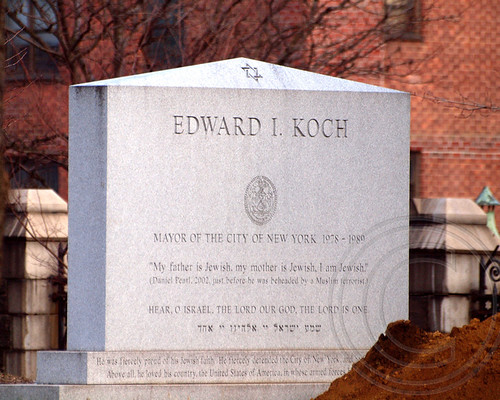 Mayor Ed Koch buried today (February 4, 2013) at Trinity Church Cemetery, New York City