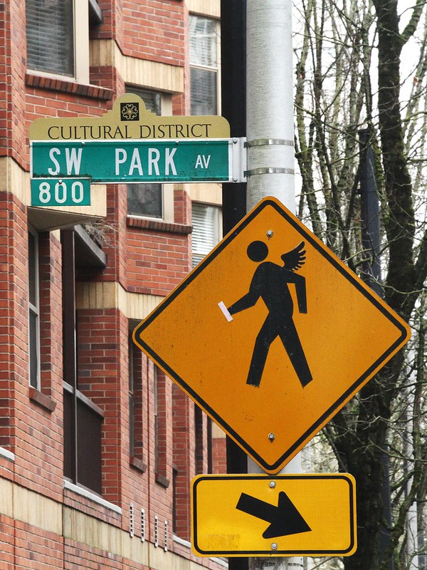 Angel crossing: Street art in Portland, Oregon