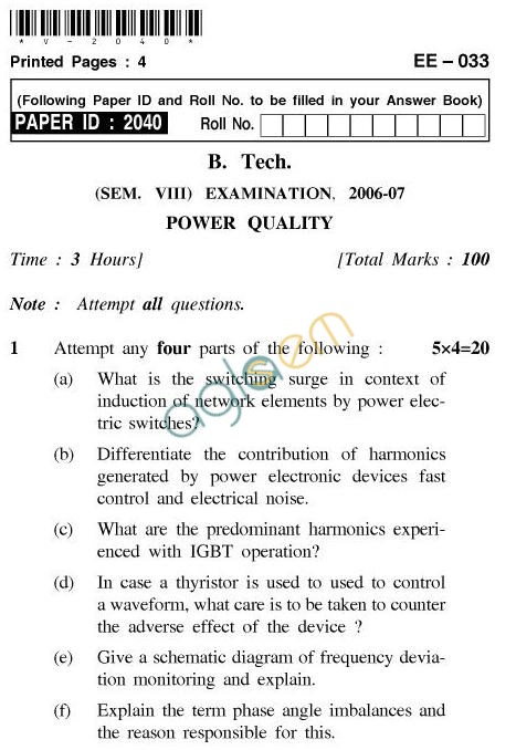 UPTU B.Tech Question Papers - EE-033-Power Quality