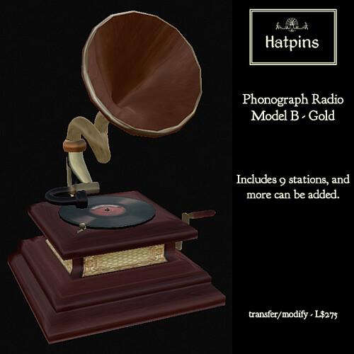 Phonograph Ad - Model B - Gold