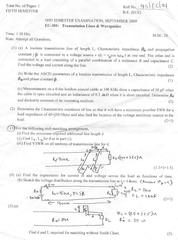 NSIT: Question Papers 2009 – 5 Semester - Mid Sem - EC-301