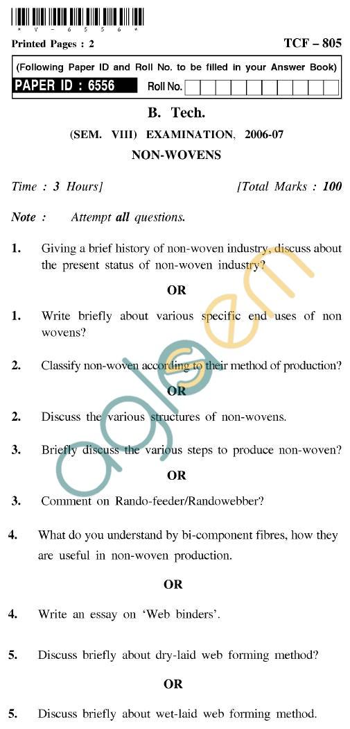 UPTU B.Tech Question Papers - TCF-805 - Non-Wovens