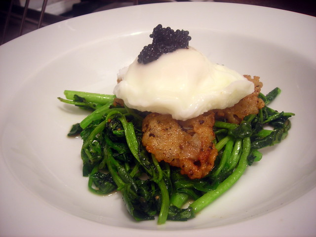 """Eggs and oysters"" -- fried oysters, poached farm egg, Swedish lumpfish caviar, sautéed watercress"