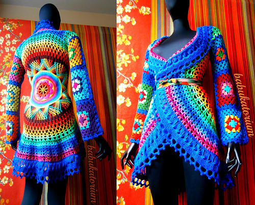 Crochet Coat - Aztec Sun Mandala And Granny Squares