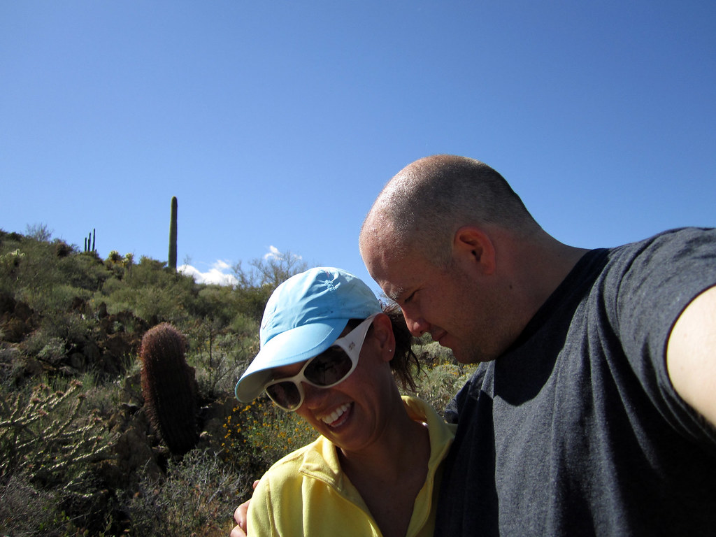 "HEATHER AND MATT ON THE ""GO JOHN"" TRAIL IN AZ."