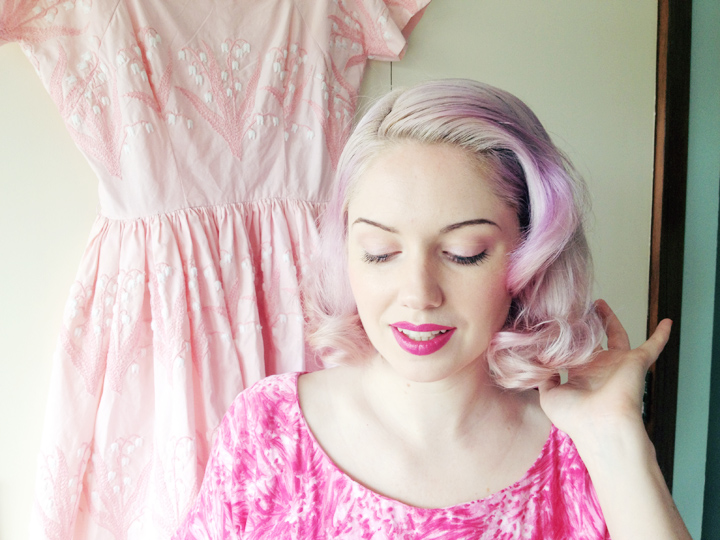 vintage pink cotton dress d