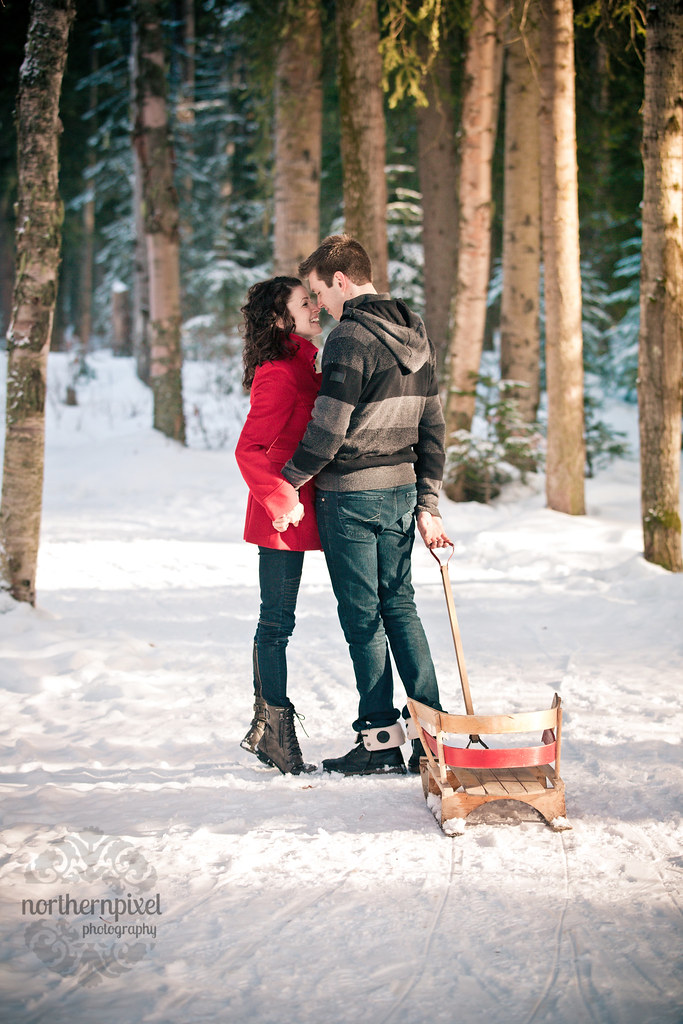 Winter Engagement Session Vintage Sled - Prince George BC