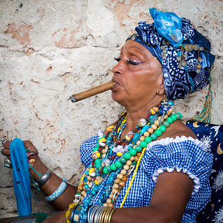 Cuban woman smoking cigar