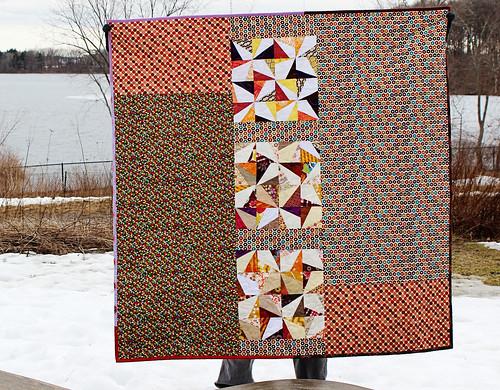 wonky pinwheel quilt back