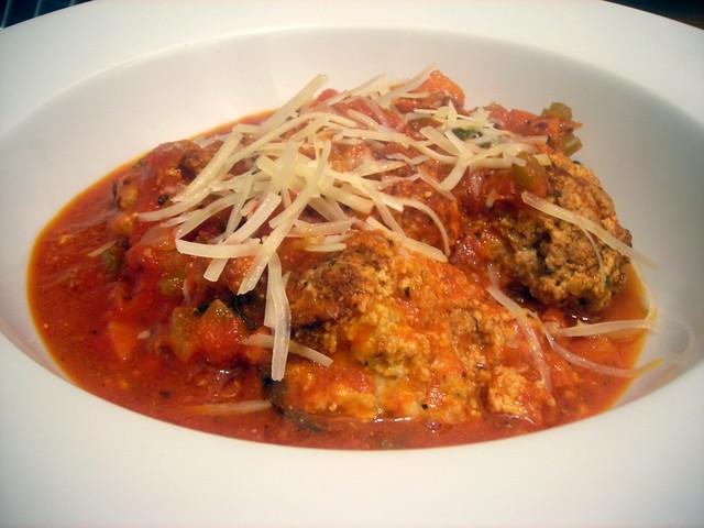Veal ricotta meatballs, sugo di pomodoro