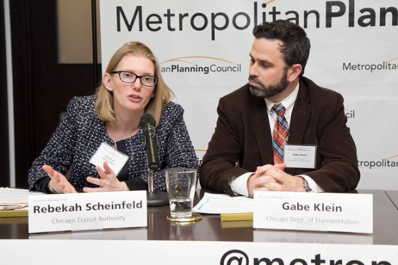 Rebekah Scheinfeld and Gabe Klein during Q&A