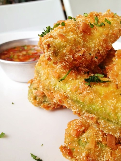 Tortilla-crusted chunky avocado fries