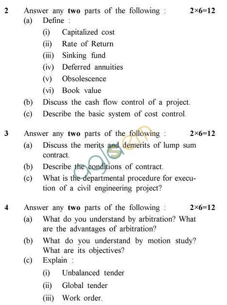 UPTU B.Tech Question Papers - CE-606-Construction Management