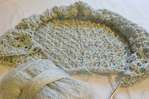 Lichen Mists shawl in progress