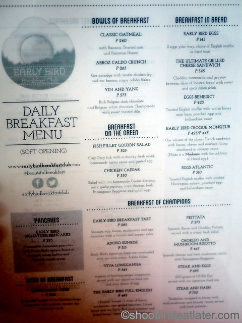 Early Bird Breakfast Club menu