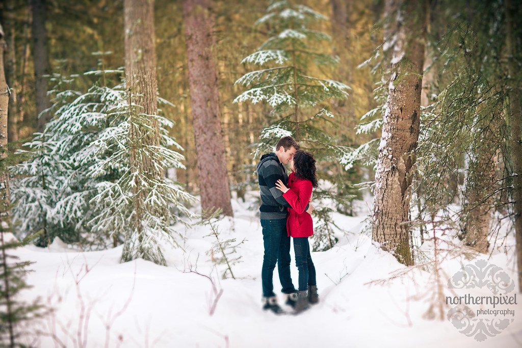 Prince George BC Winter Engagement Session Snowy Landscape