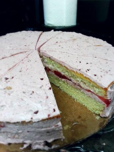 strawberry white cake with raspberry buttercream by pipsyq