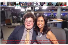 "20130206 Maria Quiban from Fox LA with actor Jesse Heiman who kissed Bar Refaeli (Victoria's Secret model) in SuperBowl2013 GoDaddy ""Perfect Match"" ad - pix 04"