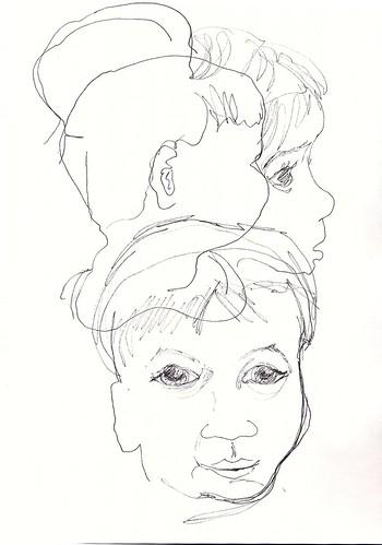 Pen sketches of my son's face