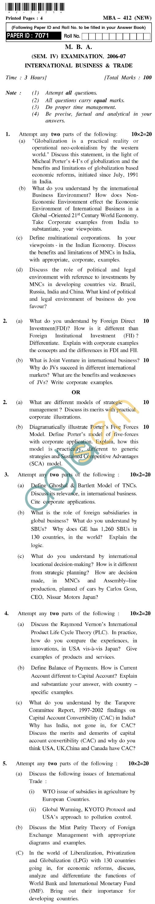 UPTU MBA Question Papers - MBA-412 (New)-International Business and Trade