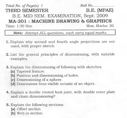 NSIT: Question Papers 2009 – 3 Semester - Mid Sem - MA-201