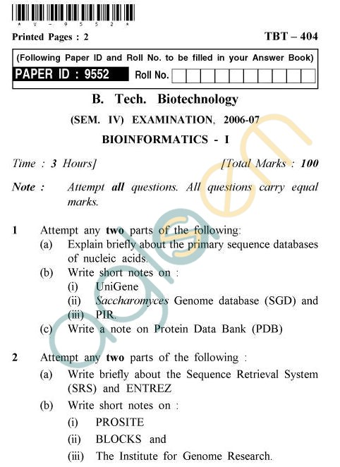 UPTU B.Tech Question Papers -TBT-404 - Bioinformatics-I
